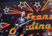 Picture of Franz Ferdinand in concert at the Splendour in the Grass festival by Australia music photographer Deb Kloeden