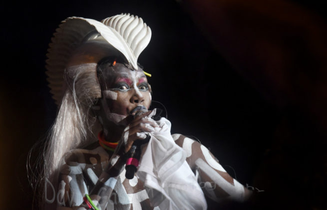 Picture of Grace Jones in concert at the Dimensions festival by David Gasson