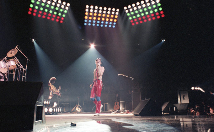 Picture of Queen in concert from 1980 by Analog music photographer Bill O'Leary