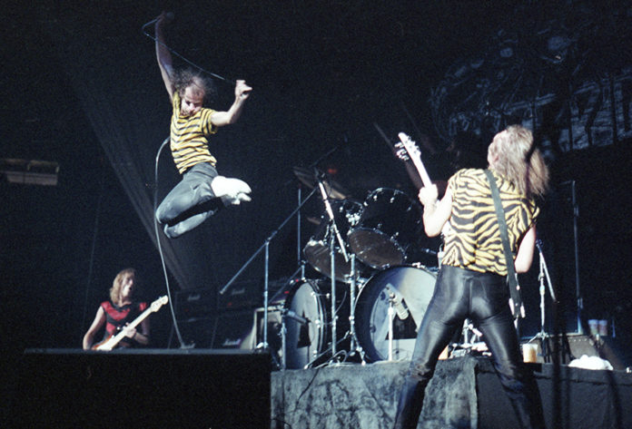 Picture of the heavy metal group Scorpions taken in analog fin 1980 by music photographer Bill O'Leary
