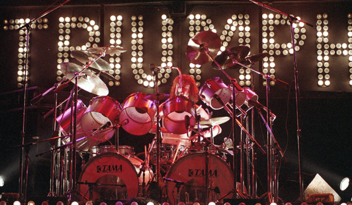 Picture of the rock band Triumph in concert taken in analog by music photographer Bill O'Leary