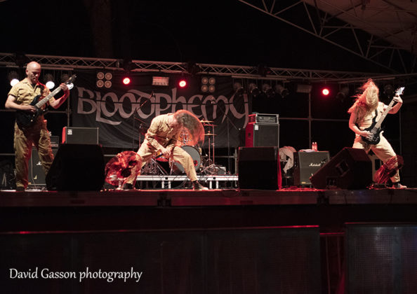 Picture of the heavy metal band Bloodphemy in concert by David Gasson