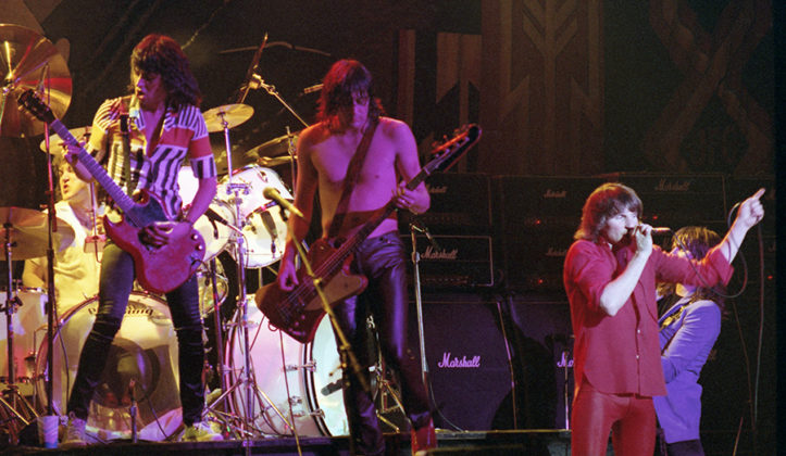 Picture of the heavy metal band UFO in concert in 1980 taken in analog by Bill O'Leary