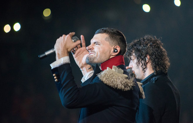 Picture of For King & Country in concert with photography by Travis Lucas