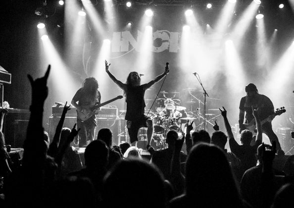 Picture of the heavy metal band Incite in concert taken by Kasper Pasinski