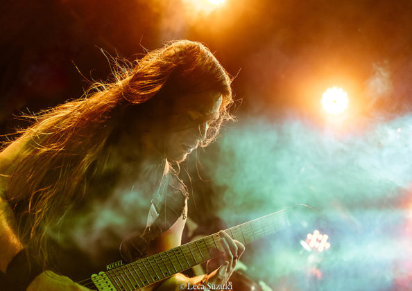 Picture of the heavy metal band Wolfheart in concert with photography by Leca Suzuki