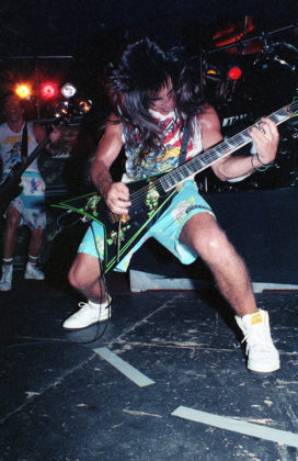 Picture of the heavy metal band Anthrax in concert taken in analog in 1987 by Bill O'Leary