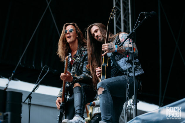 Picture of the rock group Crazy Lixx in concert at the hills Of Rock Festival taken by Stan Srebar