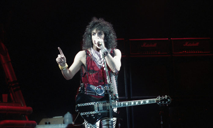 Picture of the rock band Kiss in concert during the Lick It Up tour taken by Bill O'Leary