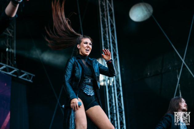 Picture of the melodic metal band Amaranthe in concert taken at a festival in Bulgaria by Stan Srebar