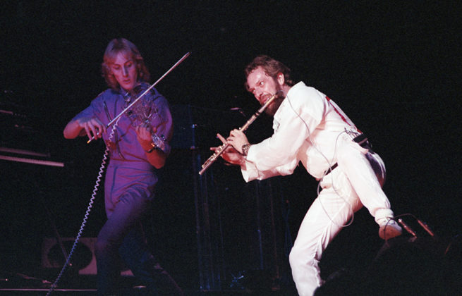 Picture of Jethro Tull in concert taken in analog at 1980 concert by Bill O'Leary