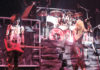 Picture of the glam metal group Mötley Crüe in analog in concert taken by Bill O'Leary