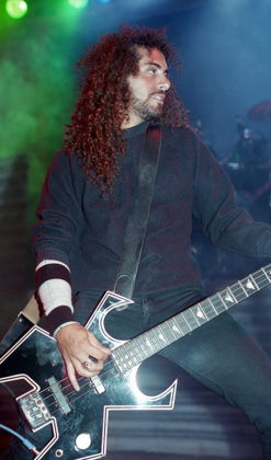 Picture of the thrash metal band Overkill in concert and in analog taken by Bill O'Leary
