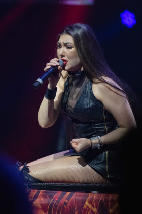 Picture of the heavy metal band Amaranthe in concert taken by Lennart Håård
