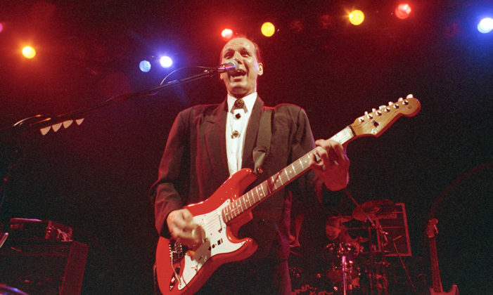 Picture of the rock musician Adrian Belew in concert from 1992 taken in analog by Bill O'Leary