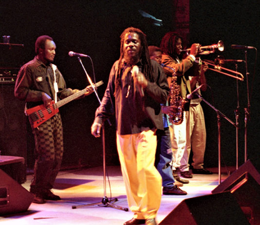 Picture of Dennis Brown in concert taken by Bill O'Leary